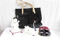 Black handbag, music box, soap dish and 2