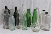 Collection of clear and colored bottles