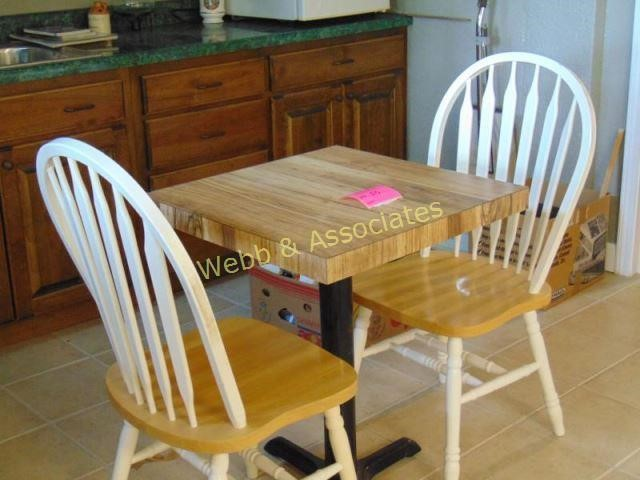 Small butcher block kitchen table with two chairs | Webb ...