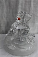"""Light up wood snowman 19.75""""H and musical glass"""