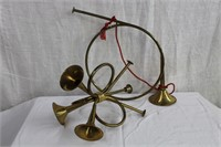 Brass Christmas bugles/candle holder