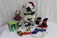 Snowman ornaments, bells, figures, pocket etc