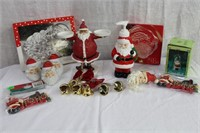 2 Santa dishes, soap dispenser, Santa ornaments,