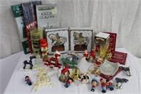 Christmas ornaments, Santa, nut crackers,