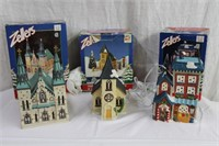 3 hand painted porcelain lighted houses