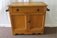 Early wash stand, dove tailed, cut out apron skirt
