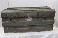 "Metal clad trunk 32.75 X 17.5 X 14.5""H"