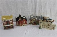 4 porcelain Christmas houses, complete with lights