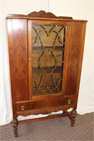 Walnut one door china cabinet, tear drop pulls