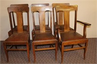 Set of 6 Elm T-back dining chair 5 side 1 arm