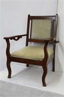Open armchair with upholstered seat and chair