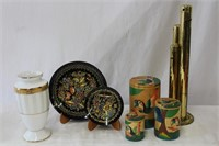 """Brass coin bank, hand painted 6& 4"""" plates, 7"""""""