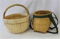 2 hand woven baskets