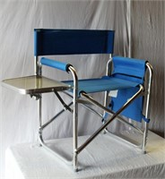Folding camp chair with attacthed folding side