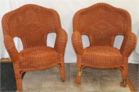 Pair of painted wicker arm chairs