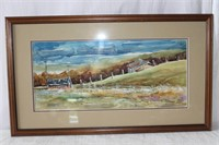 """Framed water colour signed A. Perreault 26 X 15"""""""