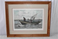 Framed coloured print Cod Fishing drawn by