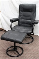 Leatherette swivel recliner with matching foot