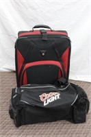 Swiss Army roller bag and Coors Light duffel bag