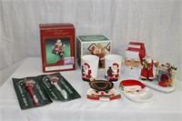 Santa stocking hangers, candles, tea light holders
