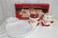 2 Snowman divided trays and 2 tea light holders