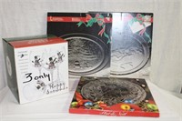 3 Handpainted snowman wine glasses and 3 Christmas