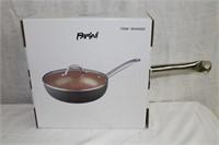 """Parini 11"""" copper non stick wok with lid new in"""