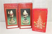 Windsor Collection, 2 Musical Santas and glass