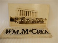 LOT OF 2 - WOODEN NAME PLATE SIGN & PRINT