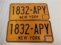 SET OF NEW YORK EMBOSSED LICENSE PLATES - NOS