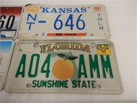 LOT OF 4 U.S.A. LICENSE PLATES