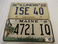 GROUPING OF 3 EMBOSSED SINGLE U.S. LICENSE PLATES