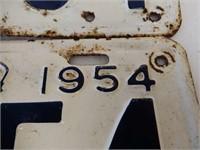 1954 ONTARIO PAIR OF EMBOSSED LICENSE PLATES