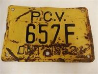1952 ONTARIO EMBOSSED P.C.V. LICENSE PLATE