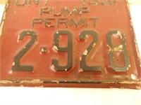 1931 ONTARIO EMBOSSED PUMP PERMIT PLATE
