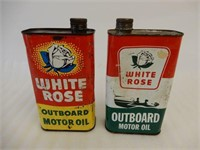 LOT OF 2 WHITE ROSE OUTBOARD  OIL IMP. QT. CANS