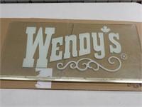 WENDYS RESTAURANT REVERSE PAINTED GLASS WINDOW