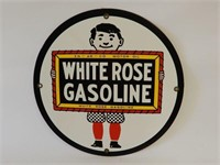 WHITE ROSE GASOLINE S/S PAINTED METAL PUMP PLATE