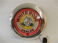 WHITE ROSE DEALER ONE COLOR NEON CLOCK