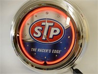 """STP """"THE RACER'S EDGE ONE COLOR NEON CLOCK"""