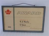 1966 SUPERTEST 10 YEAR FRAMED AWARD