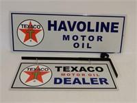LOT OF 2 TEXACO HAVOLINE & DEALER ALUMINUM SIGNS