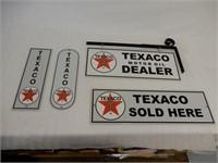 GROUP OF 4 TEXACO MOTOR OIL ALUMINUM SIGNS - NEW