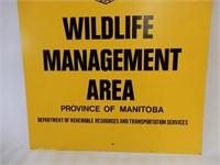 MANITOBA WILDLIFE MANAGEMENT AREA S/S METAL SIGN