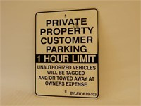 PRIVATE PROPERTY 1 HR. LIMIT S/S METAL SIGN