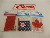 LOT OF 3 FLAGS + ALOUETTE CLOTH BADGE