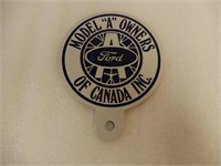 "FORD MODEL ""A"" OWNERS CANADA LICENSE PLATE TOPPER"