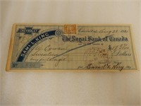 LOT OF 2 1921 ROYAL BANK STAMPED CHEQUES