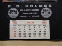 1962 RED & WHITE MARKET CALENDAR