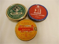 LOT OF 3 ROUND PIPE TOBACCO MIXTURE TINS